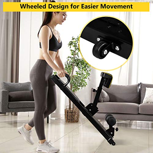 GYMAX Deep Sissy Squat Machine, 8 in 1 Multifunction Sissy Squat Bench, Leg Exercise Machine for Home Gym Workout