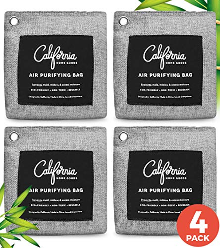Bamboo Charcoal Air Purifying Bag 4-Pack - 200g Activated Charcoal Odor Absorber Moisture Absorber - Car Air Freshener - Odor Eliminators for Home - Car Freshener - Charcoal Bags Odor Absorber