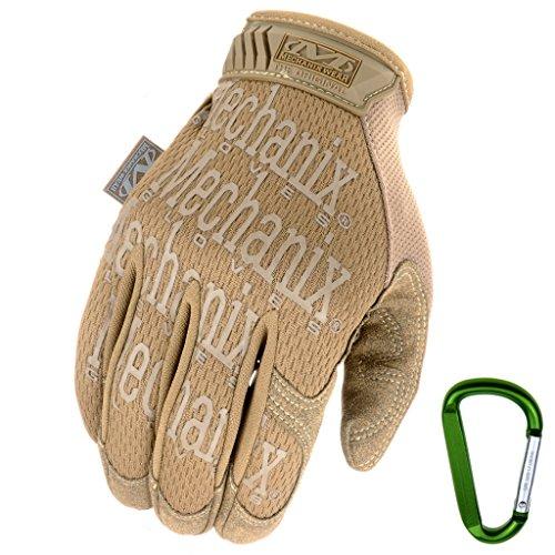 Mechanix WEAR ORIGINAL Einsatz-Handschuhe, atmungsaktiv & abriebfest + Gear-Karabiner, Original Glove in Schwarz, Coyote, Multicam/Größe S, M, L, XL (L, Coyote)