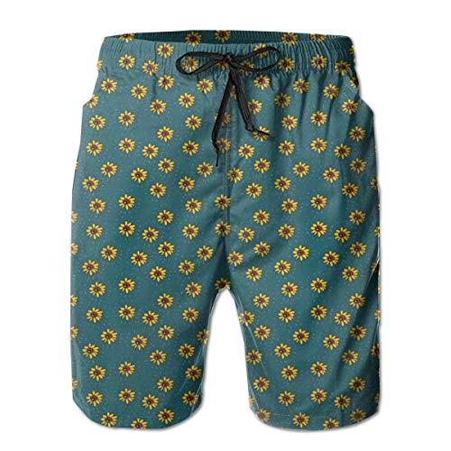 Men's Big and Tall Swim Trunks Beachwear Drawstring Summer Holiday,Graphic Flower Figures Kids Nursery Style Meadow Nature Pattern,3D Print Shorts Pants