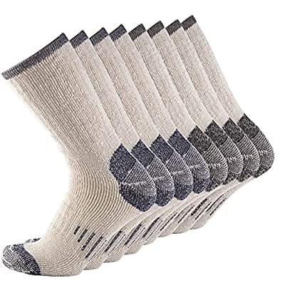 Men 70% Merino wool Crew Socks - NEVSNEV Warm Socks for Men, Athletic Socks for Hiking, Skiing,Trekking,Camping (4 Pair BLACKx2+NAVYx2)
