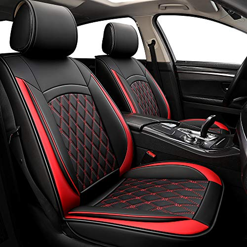 ISFC INSURFINSPORT 5 Car Seat Covers - Black and Red Leather Car Seat Covers Full Seat with 2 Car Backseat Storage on Front Seat Waterproof for Most Sedan SUV Truck for Ford Mazda Chevrolet