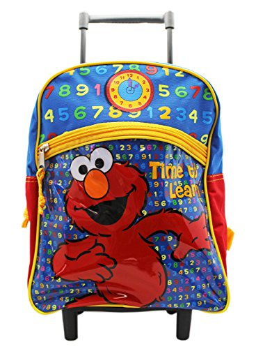 Sesame Street Elmo Time to Learn Red and Yellow Toddler Rolling Backpack (12in)
