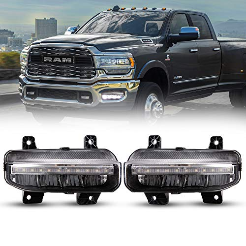BUNKER INDUST Dodge Ram LED Fog Lights with Daytime Running Lights Set,1 Pair Clear Lens Driving Fog Lamps Replacement for 2019 Dodge Ram 1500