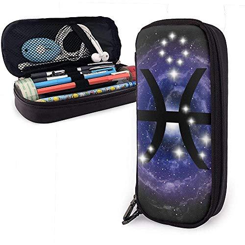 Leder Federmäppchen, Fische Sternzeichen Sterne Sternbild am Nebel Federmäppchen Schreibwaren Tasche Mäppchen Stifthalter