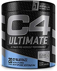 C4 Ultimate Pre Workout Powder ICY Blue Razz - Sugar Free Preworkout Energy Supplement for Men & Wom
