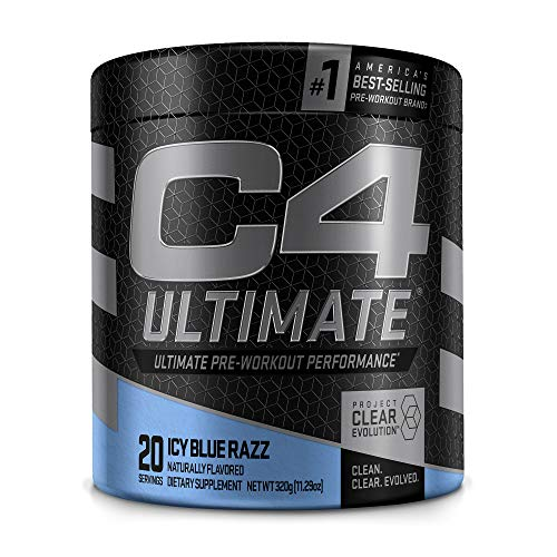 C4 Ultimate Pre Workout Powder ICY Blue Razz - Sugar Free Preworkout Energy Supplement for Men & Women - 300mg Caffeine + 3.2g Beta Alanine + 2 Patented Creatines - 20 Servings