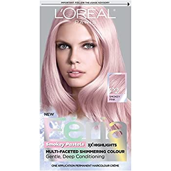 L Oreal Paris Feria Multi-Faceted Shimmering Permanent Hair Color Pastels Hair Color P2 Rosy Blush  Smokey Pink  Pack of 1 Hair Dye