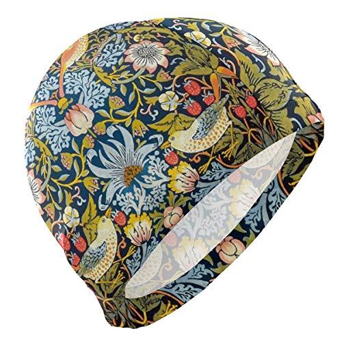 Agoyls Cuffie da Nuoto,Cuffie da Bagno,Floral Bird Strawberry Adult Swimming cap 3D Ergonomic Swim Hat Reduce Resistance Bathing cap for Men Women