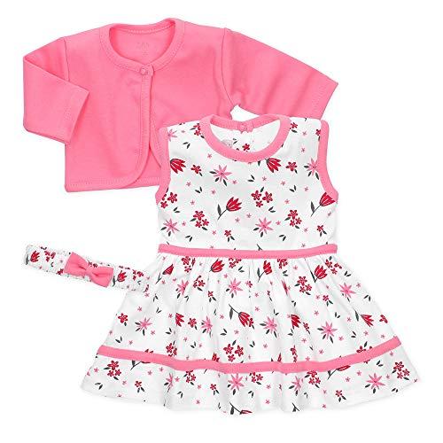 Baby Sweets 3er Baby-Set Kleid, Baby-Strickjacke & Baby-Haarband/Newborn Babykleidung Mädchen Rosa-Weiß/Babykleid Sommer-Baby-Outfit/Taufkleid Neugeborene & Kleinkinder Größe 6-9 Monate (74)