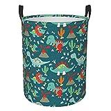 Lindo dinosaurios circular bolsa de lavandería, cesta de almacenamiento redonda plegable, organizador de ropa sucia, para dormitorio familiar