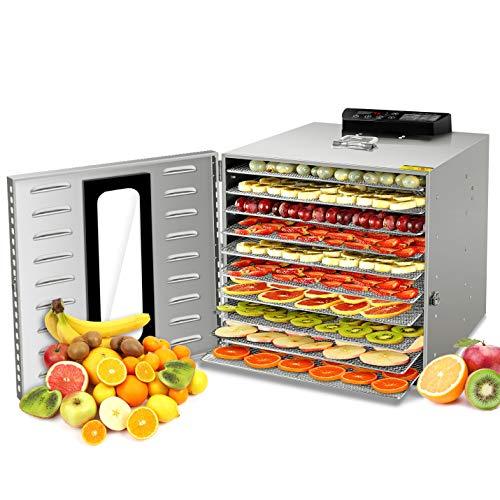 Déshydrateur Alimentaire, 10 Plateaux • Desydratateur avec Minuteur (24H) • Deshydrateur de Fruit et Legumes Température Réglable (30 à 90°C) + 1×Livre de Recettes(Manuel en Français)