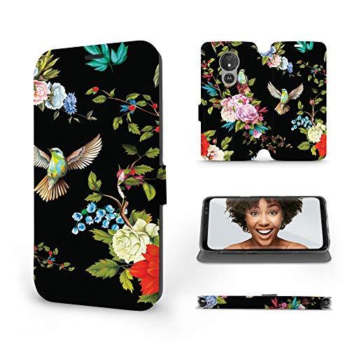 Mobiwear | Slim FLIP Hülle | Kompatibel mit Motorola Moto G7 Power, Made in EU handyhülle, Premium Schutzhülle, Transparent TPU Silicon, Book Style Hülle, Tasche - Blumen auf schwarzem Hintergr&