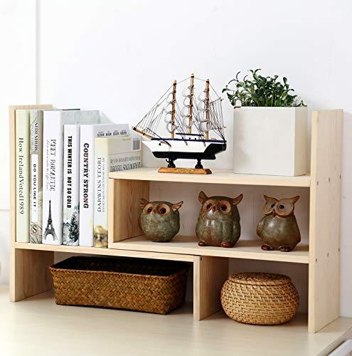 Garwarm Desktop OrganizerAdjustable Natural Wood Office Storage RackDisplay Shelf Rack Counter Top BookcaseBurlywood