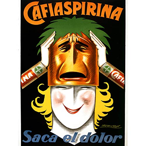 Wee Blue Coo Advertising Medicine Aspirin Bayer Argentina Woman Mask Smile Large Art Print Poster Wall Decor 18x24 inch