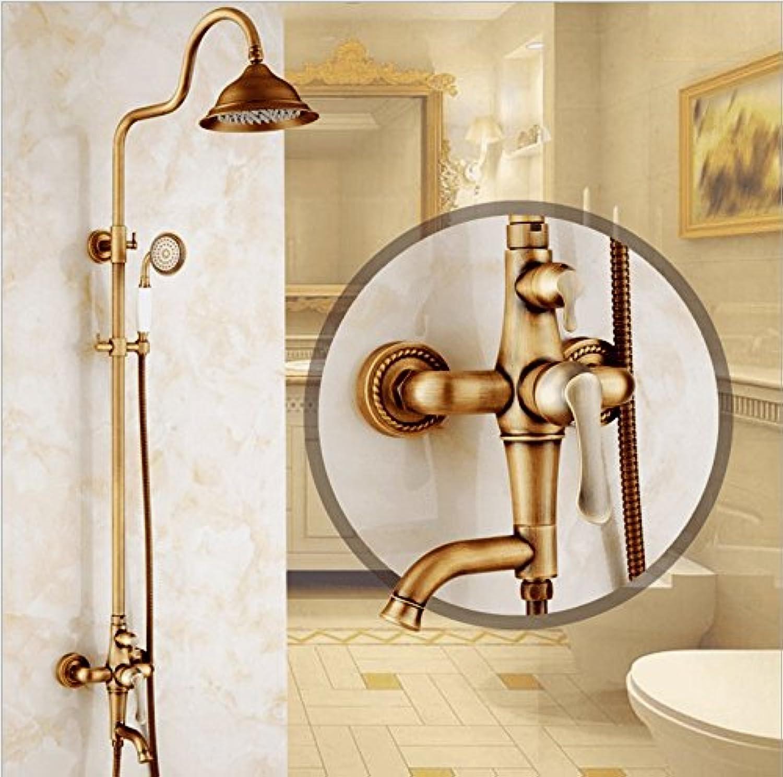 AQMMi Waschtischarmatur Wasserhahn Messing Retro Duschen Antiken Dusche Set Drehbar, Mit Heiem Und Kaltem Wasser Mischbatterie Waschtisch Armatur Für Bad