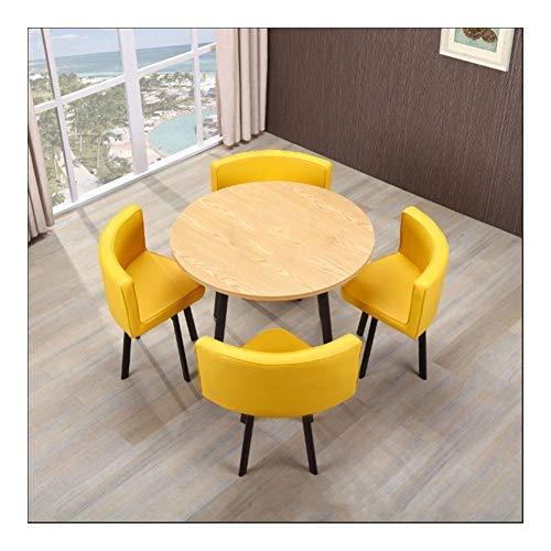 Qilo Vintage Ronda de negociaciones de Casa de los Cátedra de 5 Piezas de combinación Simple Moderna recepción del Cuero del Ocio Sofá Café sede de la Oficina Salón (Color : Yellow)