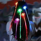 Aikesi 1pcs LED Trenza Colorida Brillante Accesorios para el Cabello Fibra óptica Barrettes Trenzas Luminosas para la decoración del Festival del Partido