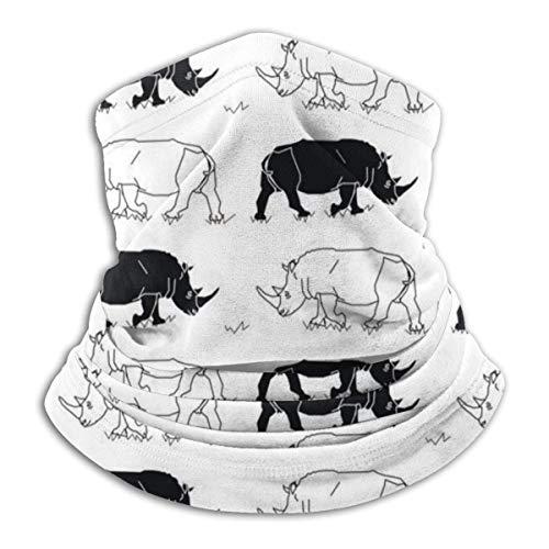 Neck Scarf Wrap,Diadema Adulta De Rinocerontes Blancos Negros, Cómodos Pañuelos 12 En 1 para Montar A Caballo,26x30cm