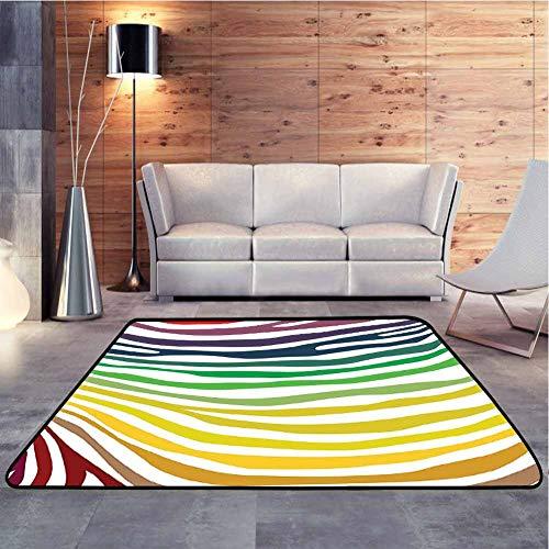 DESPKON-HOME Alfombra multicolor con diseño de rayas de cebra en color arco...
