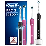 Oral-B Pro 2 2900 Set of 2 CrossAction Electric Rechargeable Toothbrushes, 1 Black