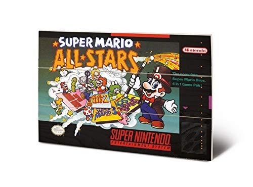 Nintendo MW12477P Impression sur Bois 29,5 x 20 cm-Super (All Stars), Multicolore, 20 x 29, 5 x 1, 2 cm