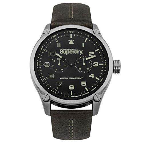 Superdry Herren Analog Quarz Uhr mit Leder Armband SYG208BN