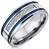 Mens Wedding Bands Stainless Steel CZ 8mm Blue Stripes Engagement Rings for Him Men Wedding Jewelry (Size 9)