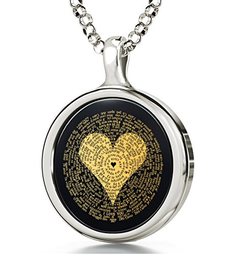 925 Sterling Silver I Love You Necklace 24k Gold Inscribed in 120 Languages Including Braille and Sign Language on Round Black Onyx Gemstone Anniversary Pendant, 18