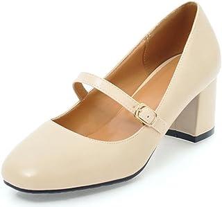 c78bb3741f IDIFU Women's Elegant Buckled Mid Chunky Heeled Square Toe Mary-Jane Shoes