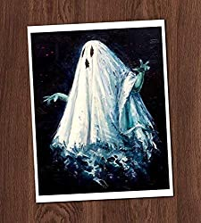 Image: Creepy Ghost Color Painting Vintage Art Print 8x10 Wall Art Spirit Haunting Halloween Decor