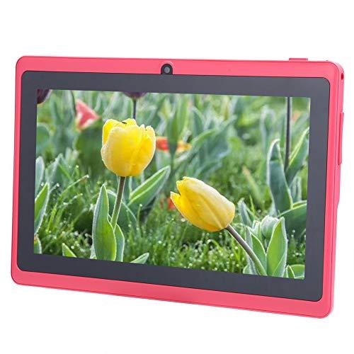 CCYLEZ Tableta para niños de Alta definición de 7 Pulgadas, PC portátil para niños, Equipo de Tableta, Soporte WiFi, procesador de Cuatro núcleos, con Cubierta Protectora de Silicona, 1 + 8G(Rosa)
