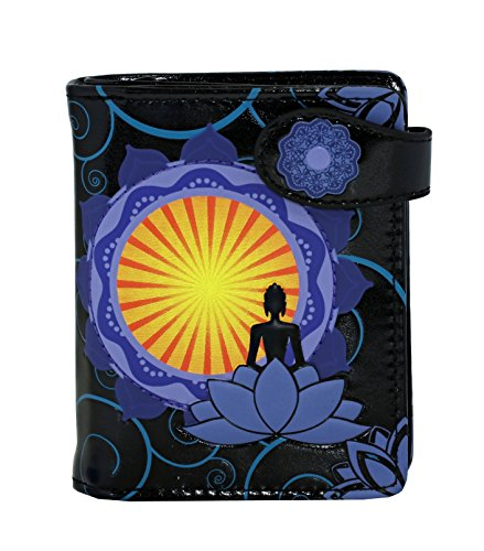Shagwear Spiritual Themed Small Zipper Women's Bi-Fold Wallet (Buddha Lotus-Black)