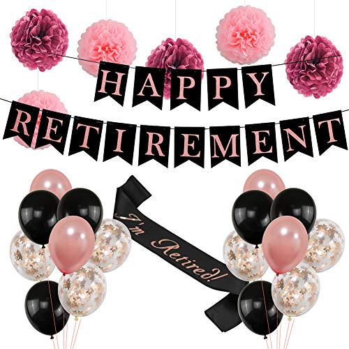 Retirement Party Decorations for Women  Rose Gold HAPPY RETIREMENT Banner Bunting, I'm Retired Sash,Tissue Paper Cute Pom Poms,Black and Rose Gold Balloons Retirement Decoration Supplies  Ideal Reti