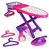 Boley Pretend Play Laundry Playset - Pink and Purple Laundry Toys with Ironing Board, Toy Iron, Spray Bottle, Hangers and Toy Storage Basket for Kids and Toddlers