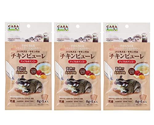 CASA(マルカン)ハリネズミ・モモンガのチキンピューレ(アップル&マンゴー) お得な3袋セット