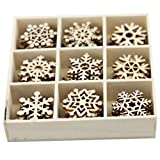 Amosfun 72Pcs Fiocchi di Neve in Legno Ornamenti in Legno Non Finiti Ritagli Fiocco di Neve in Legno di Natale per Decorazioni Natalizie Abbellimenti Appesi All'albero di Natale