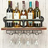 Industrial Wall Mounted Wine Rack, Wine Bottle Stemware Glass Rack, Floating Shelf Pipe Hanging Shelving with 4 Stem Glass Holders for Wine Glasses, Flutes, Mugs, Home Décor, Kitchen, Bar, Metal
