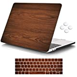 iCasso MacBook Pro 13 inch Case 2019 2018 2017 2016 Release A2159/A1989/A1706/A1708, Plastic Hard Shell Case with 5 Rows Keyboard Cover Compatible Newest MacBook Pro 13' - Brown Woodgrain