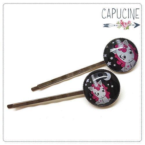 2 pinces licornes bronze et cabochons verre - pinces cheveux licornes rose - Barrettes cheveux illustrées - Licorne aux Étoiles