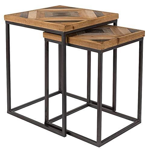 24Designs Set 2 Bijzettafels Joy - Houten Tafelblad - Metalen Onderstel