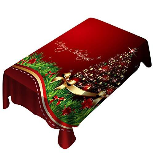 BOLANQ, tovaglia Rettangolare con Stampa Natalizia, Decorazione per la casa, Red, 150X300cm