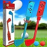 2 Piezas Puños De Golf, Par De Palos De Golf Para Accesorios De Juegos De Golf Switch, Palos De Golf, Mango De Golf, Palos De Control, Agarre De Movimiento Para Joycons (Rojo Y Azul)