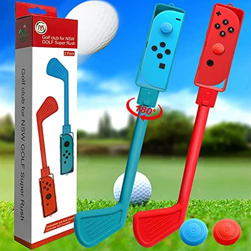 2 Stück Golfschläger für Switch Mario Golf Spiel, Drehbare Golfgriffe Kompatibel mit Switch Joy-Con Controller, Zubehör für Nintendo Switch Mario Golf Super Rush Spiele (Rot/Blau)