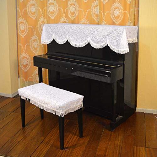 MXK Cubierta De Piano De Tela De Piano A Prueba De Polvo con Cubierta De Taburete Cubierta De Polvo De Piano Vertical De Piano Toalla De Piano Blanca, Cubierta De Muebles