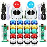 Fosiya 2 Player LED Arcade Joystick Buttons Kit for Arcade PC Game Controllers Mame Raspberry Pi Retro Controller (Mixed Colors Kit)