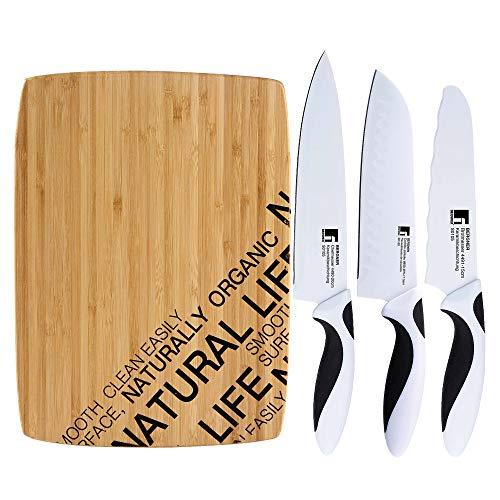Bergner NATURAL Set de tabla de corte y juego de cuchillos Black&White