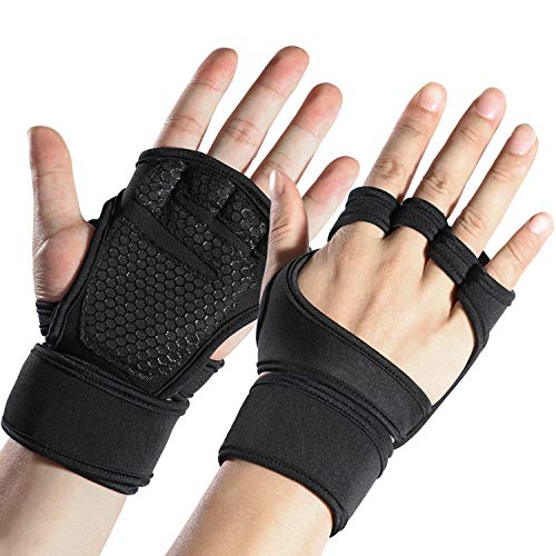 Sportneer Fitness Gym Gloves with Wrist Support Grip and Breathable Glove Design Used for Weight Lifting, Pull Up, Crossfit, Cycling, Driving, Fitness, Gym Training(XL)