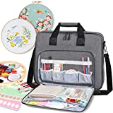LLYWCM Embroidery Project Bag - Multifunctional Embroidery Kits Storage Bag for Embroidery Floss and Crochet Hooks Sewing Accessories (Bag Only) (Gray)
