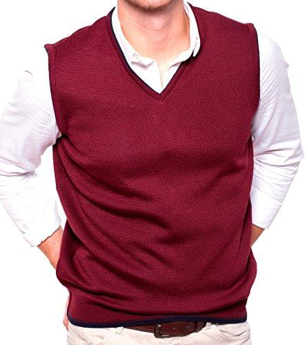 Gilet da uomo in maglia senza maniche con bordo a contrasto, Granata, 4X-Large